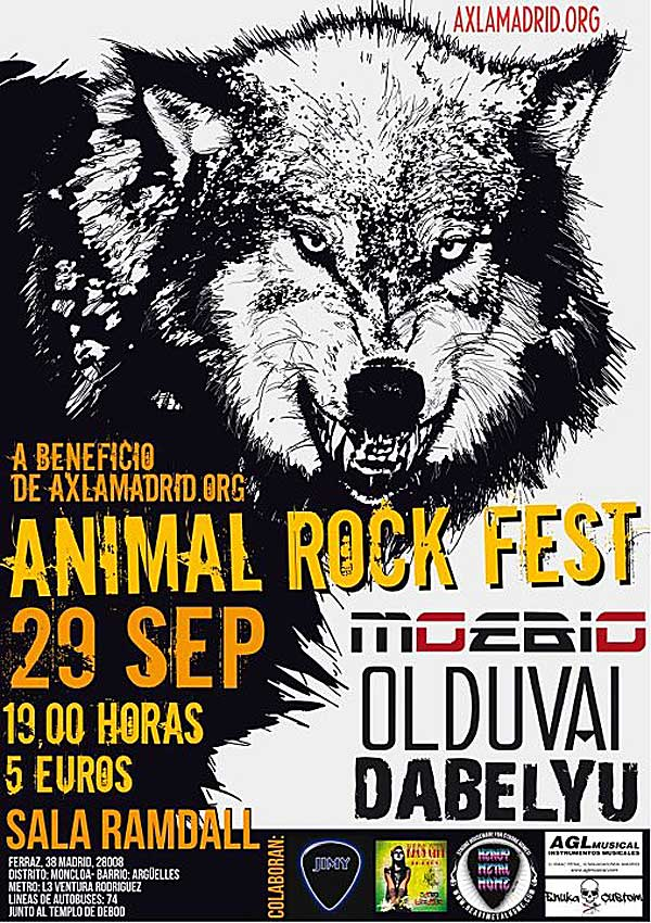 Animal Rock Fest es un concierto benfico en el que todo lo recaudado se destinar a AXLA-Amigos por los Animales.