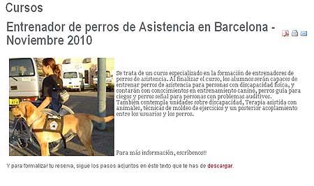 Curso de Entrenador de Perros de Asistencia.