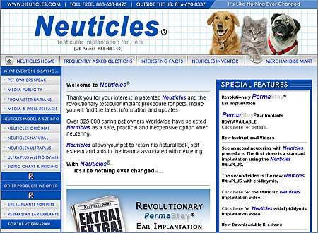 Neuticles, protésis de testículos para perros...