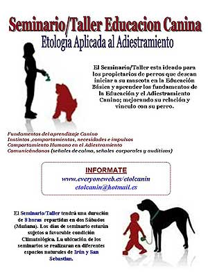 Seminarios Etolcanin: etología/adiestramiento y agility.