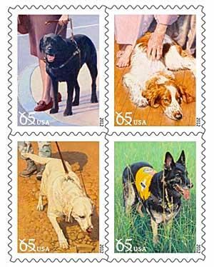 Colección de sellos homenaje a los perros de trabajo, simbolizan el vínculo del perro con el hombre.