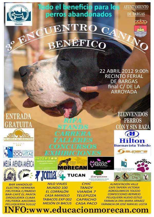 El tercer Encuentro Canino Benéfico se celebrará en el recinto ferial de Bargas, Toledo el próximo 22 de abril. Canicross, agility, rastro deportivo, obediencia.... y también concursos para perros sin raza, adopciones. ¡Resérvalo en tu agenda!