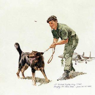 """La ilustración de titula """"K-9 con su guía"""", y es de Bill Dula."""