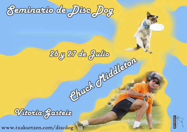 CSeminario de Disc Dog de la mano de Chuck Middelton, con Tzakurtzen.