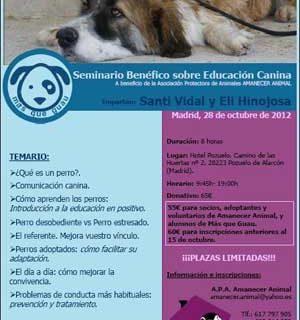 """Seminario Benéfico de Educación Canina a beneficio de Amanecer Animal, con Jaime Vidal """"Santi""""."""