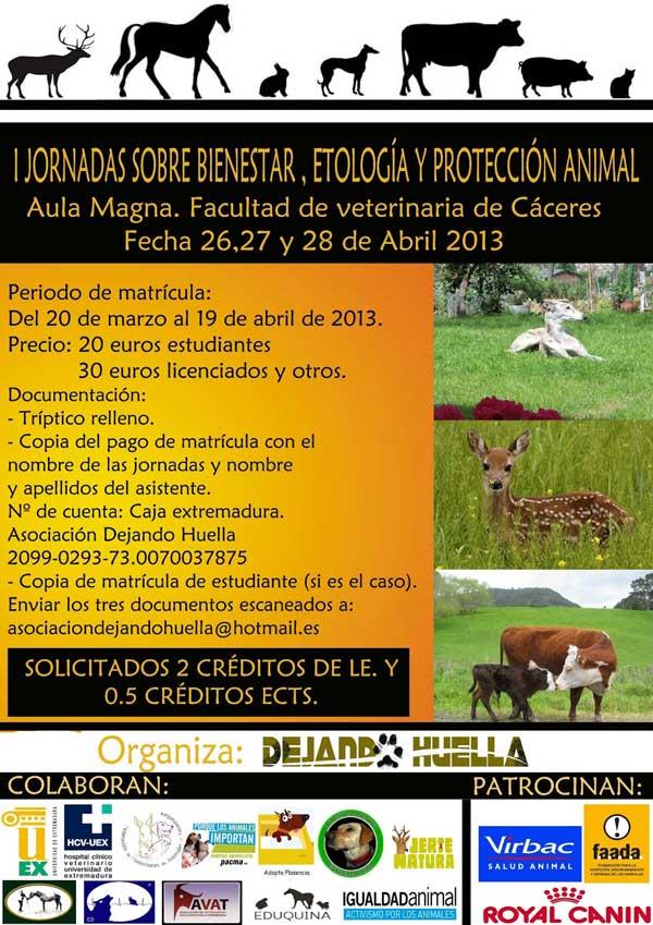 I Jornadas sobre bienestar, etología y protección animal, en Cáceres.