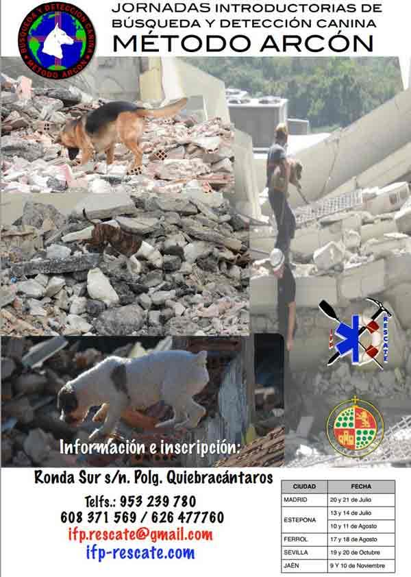 Próximas Jornadas introductorias sobre búsqueda y detección canina Método Arcón