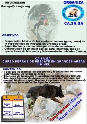 Curso de perros de rescate en grandes áreas. CASAGA.