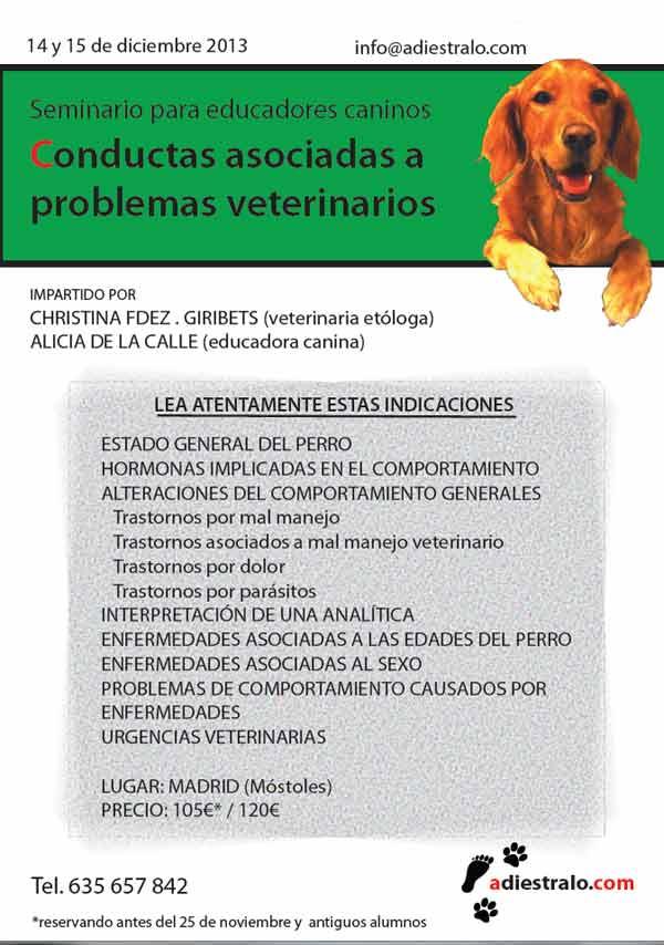 """Seminario muy interesante: Cómo identificar las causas físicas de problemas de conducta como la agresividad: Seminario """"Conductas asociadas a problemas veterinarios""""."""