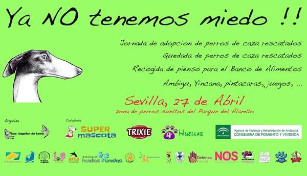 La Jornada de Adopción de Perros de Caza Rescatados y Quedada de Perros de Caza Adoptados se realizará en la Zona de Perros Sueltos del Parque del Alamillo, Sevilla, el próximo domingo 27 de Abril.