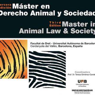 Abiertas las inscripciones para la 4ª ed. del Máster en Derecho Animal y Sociedad en la Universidad Autónoma de Barcelona (UAB).