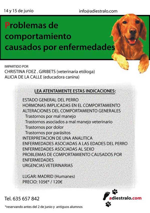 • Más información: El Seminario Problemas de conducta en los perros, asociados a enfermedades se celebrará los próximos 14 y 15 de junio en Madrid.
