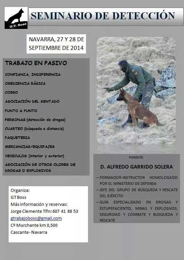 Seminario para profesionales de la detección con #perros, en Navarra (personas, drogas, explosivos..).