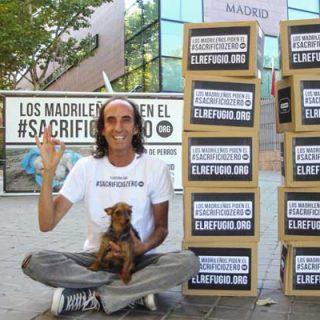 El Refugio entrega 61.832 firmas de madrileños para prohibir el sacrificio de animales abandonados, en el día del Debate del Estado de la Región.