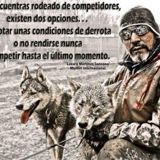 """""""Si te encuentras rodeado de competidores, existen dos opciones... Aceptar unas condiciones de derrota o no rendirse nunca y competir hasta el último momento"""". Lázaro Martínez Sonsona, musher español."""