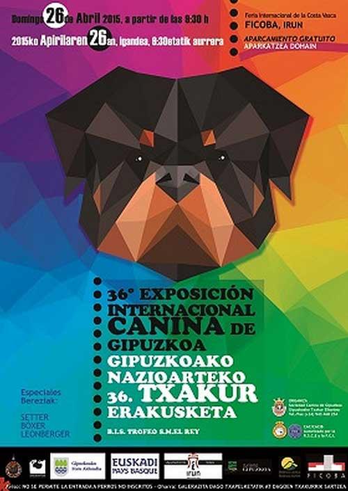 XXXVI Exposición Internacional Canina de Guipúzcoa, próximo domingo 26 de abril.
