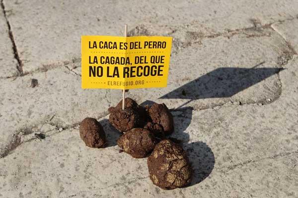 #pasodecacas. El Refugio planta una descomunal caca en plena Gran Vía, para denunciar la actitud de las personas que no recogen las cacas de sus perros.