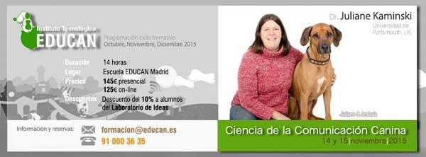 Juliane Kaminski, seminario sobre comunicación social canina, próximos 14 y 15 de noviembre en Madrid. Cómo se comunican los perros entre sí, cómo lo hacen con nosotros, cómo aprovechar estos conocimientos.