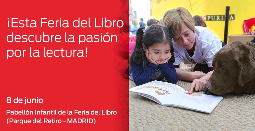 PURINA y CTAC organizan un taller de lectura con perros en la Feria del Libro de Madrid.