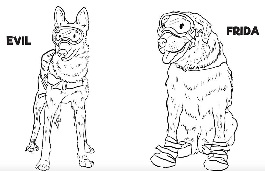 Colorea a Frida y los perros héroes del terremoto de México.