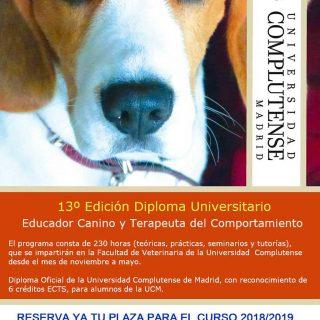 Diploma de Educador Canino y Terapeuta del Comportamiento de la UCM.