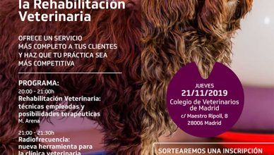 Rehabilitación Veterinaria, evento para profesionales.