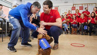 4ª edición del Proyecto Guau, los cachorros Tuna, Pimba y Poma, y una quincena de jóvenes con discapacidad intelectual en la Asociación Centro Pedralbes de Barcelona.