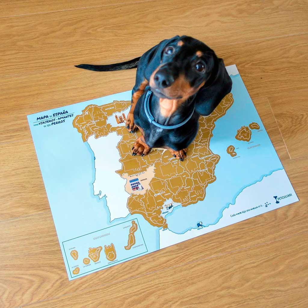 Mapa rascable para viajar con perros y potenciar el turismo dog-friendly por España.